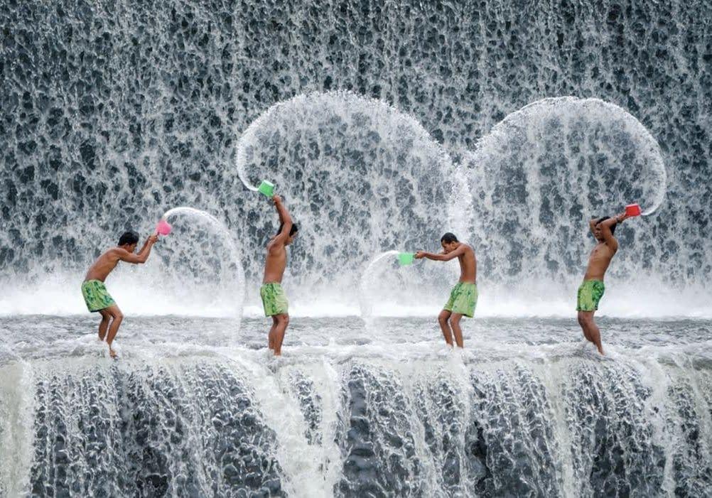Wasserschlacht, ganz sauber, Zähneputzen